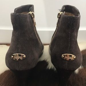 Coach Shoes - Coach Mystic Wedge Bootie Brown Leather Suede Zip